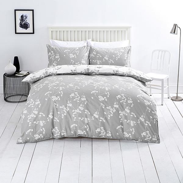 Sainsbury S Home Oriental Blossom Grey Print Bed Linen Sainsbury S