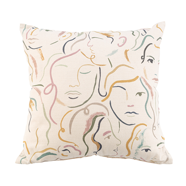 Scandi Embroidered Scandinavian Minimalistic   Abstract Face Cream Cushion Cover