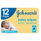 Johnson's Baby Extra Sensitive Wipes 12 Pack 672 Baby Wipes