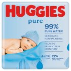 Huggies Pure Baby Wipes Fragrance Free 4 Pack 224 Wipes