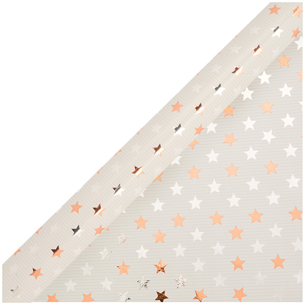 Image for Sainsbury's Christmas Kraft with Silver & Copper Star Wrapping Paper 4m from Sainsbury's