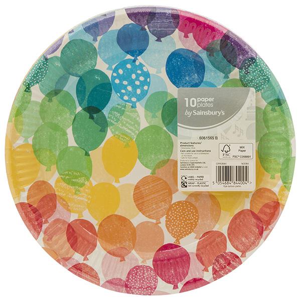 Close Image for Sainsburyu0027s Balloon Paper Plates x10 from Sainsburyu0027s  sc 1 st  Sainsburyu0027s & Sainsburyu0027s Balloon Paper Plates x10 | Sainsburyu0027s