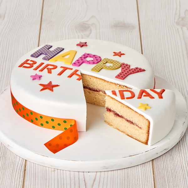 Sainsburys Happy Birthday Madeira Cake 126kg Serves 18 Sainsburys